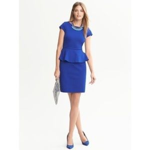 🎉 Banana Republic Blue Peplum Dress Size 14 🎉
